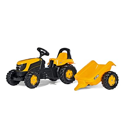 rolly toys JCB Pedal Farm Tractor with Detachable Trailer, Youth Ages 2.5+: Toys & Games