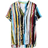 ♛2019 Clearance Sale♛ - Chamery Summer Shirt for MenMens Multi Color Lump Short Sleeve Round Hem Loose Shirts Blouse