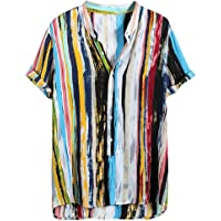 Slagon MultiColor Lump Tee Short Sleeve Round Neck Blouse Wonderful Loose Shirts Hawaii Top For Men Summer Vacation