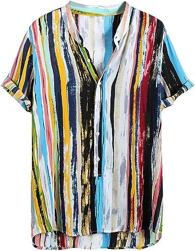MOTOCO Camisa de Los Hombres Top Rayas Tallas Grandes Manga Corta Casual Vintage Print Button Playa Henryshirt Blusa(3XL, Multicolor-1): Amazon.es: Ropa y accesorios