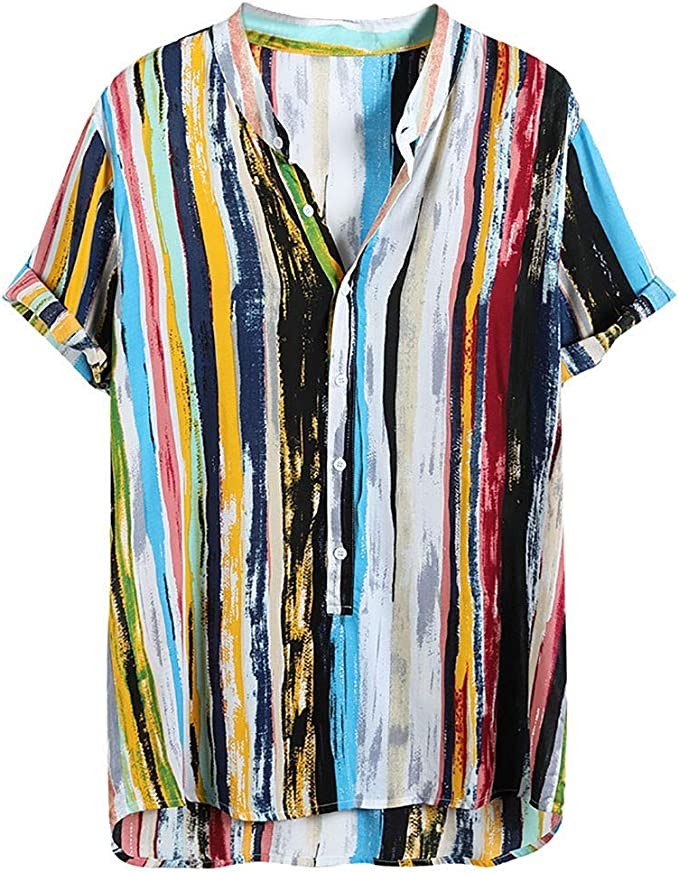 Mens Colorful Stripe Summer Sleeveless Loose Buttons Casual Shirt Blouse Tops