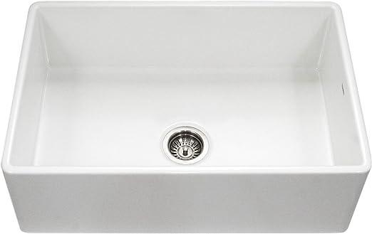 Houzer PTG-4300 WH Platus Series Apron-Front Fireclay Single Bowl Kitchen  Sink, 33\