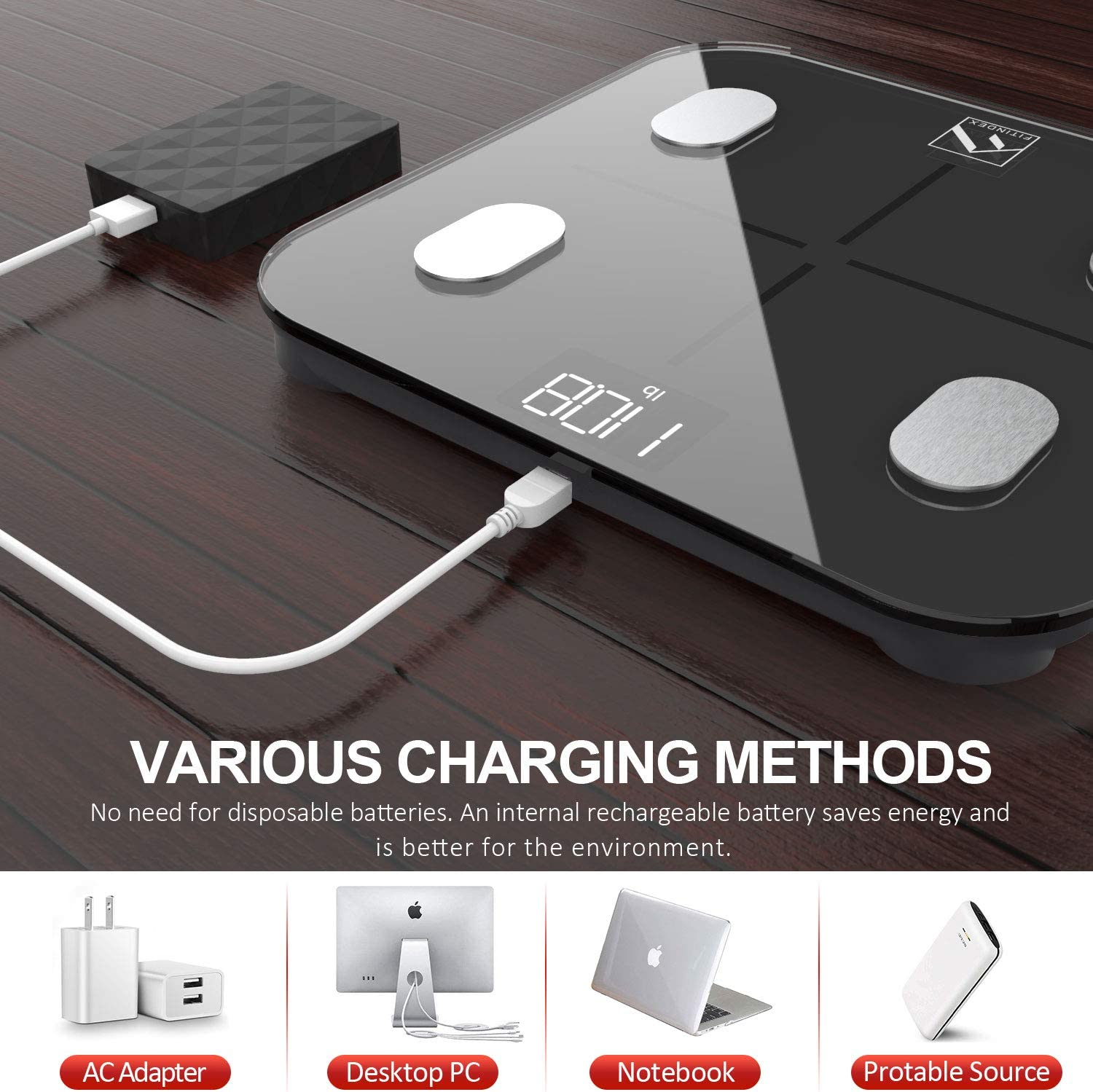 FITINDEX Smart Body Fat Scale, BMI Bathroom Scale, Digital Body Composition Analyzer Rechargeable Weight Monitor with App for Smartphone: Health & Personal Care
