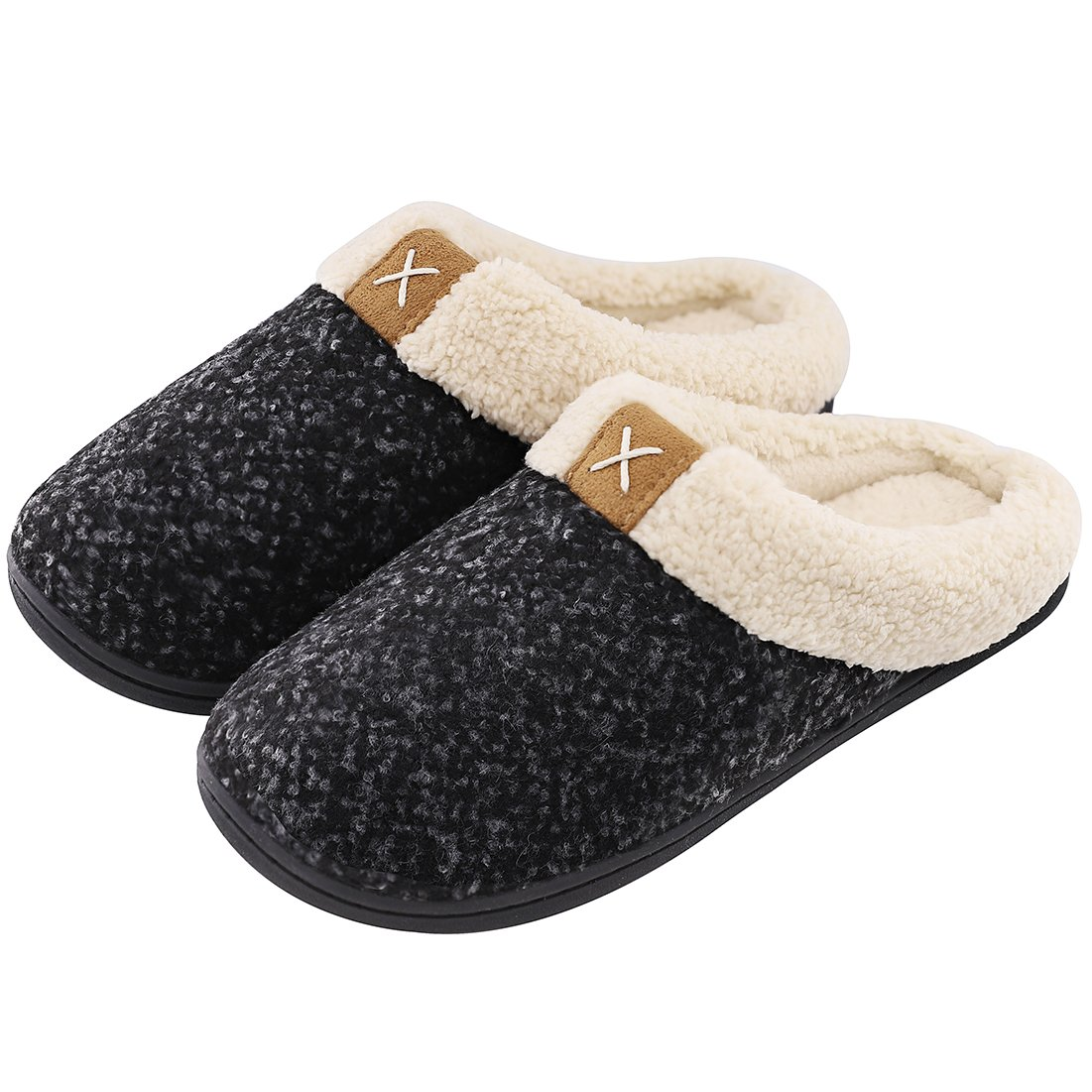 Women's Comfort Memory Foam Slippers Wool-Like Plush Fleece Lined House Shoes w/Indoor, Outdoor Anti-Skid Rubber Sole (Medium/7-8 B(M) US, Space Black)
