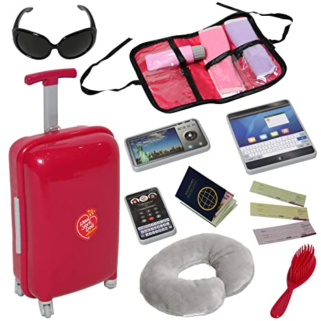 08bdfa509e Amazon.com: Doll Travel Suitcase with Open and Close Carry on Luggage,  Ticket, Passport and 12 Accessories - Travel Set for 18 Inch Dolls: Toys &  Games