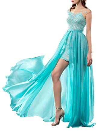 Womens 2017 2 Piece Prom Dresses With Detachable Skirt Lace Long Formal Gowns J083 at Amazon Womens Clothing store: