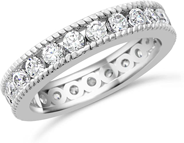 .48 CW Silver CZ Channel Baguette Stackable Eternity Wedding Ring Band Size 5-10