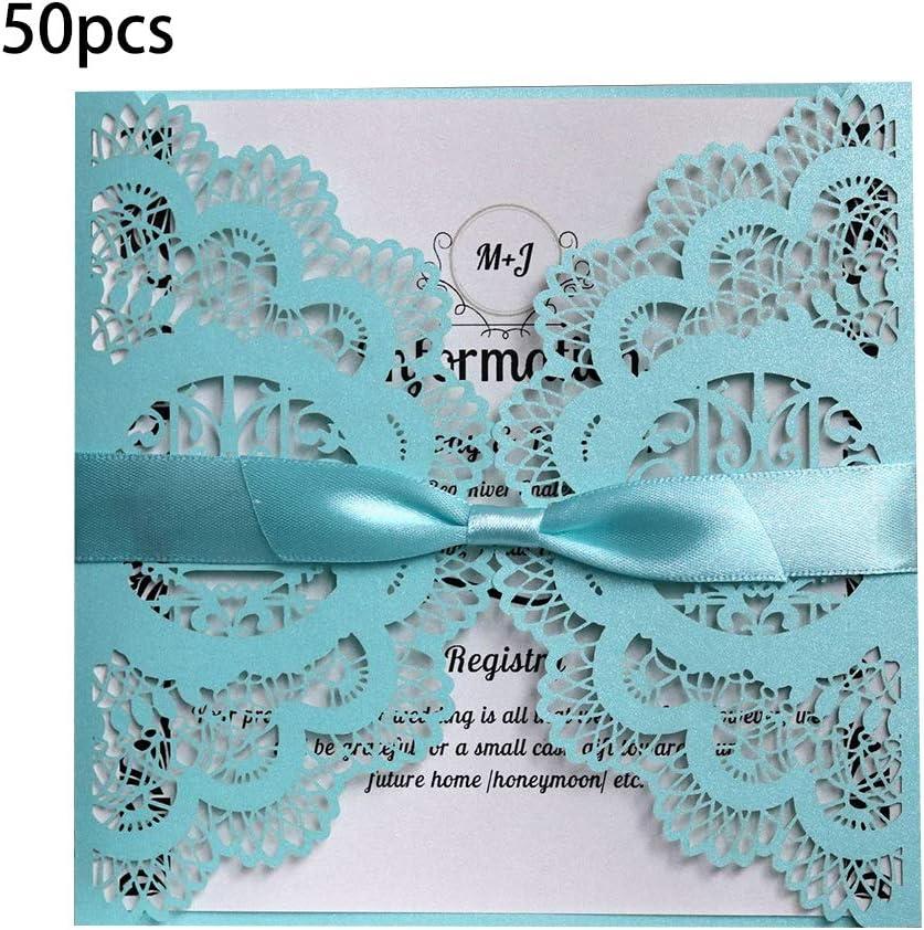Kuvuiuee Lot de 50 cartes dinvitation pour mariage et fian/çailles 6 6 in bleu clair