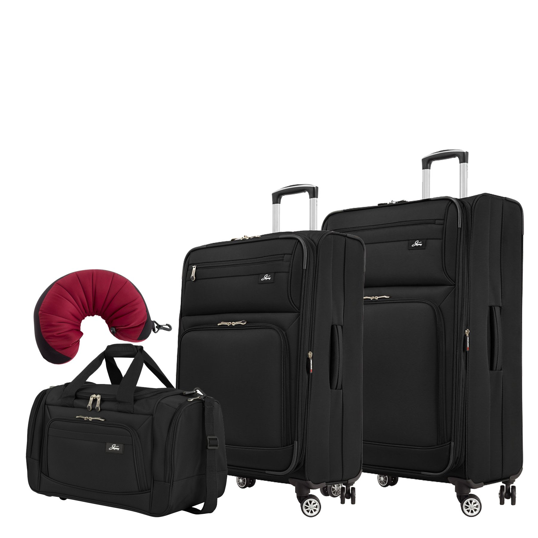 Skyway Sigma 5.0 | 4-Piece Set | 22'' Duffel, 25'' and 29'' Expandable Spinners, Travel Pillow (Black)