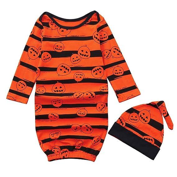 K-youth Sacos de Dormir para Bebé Conjuntos Bebe Halloween Rayas Niños Ropa Recién Nacido Bebé Pijamas de niños Sleepsack Trajes y Sombrero Conjuntos de ...