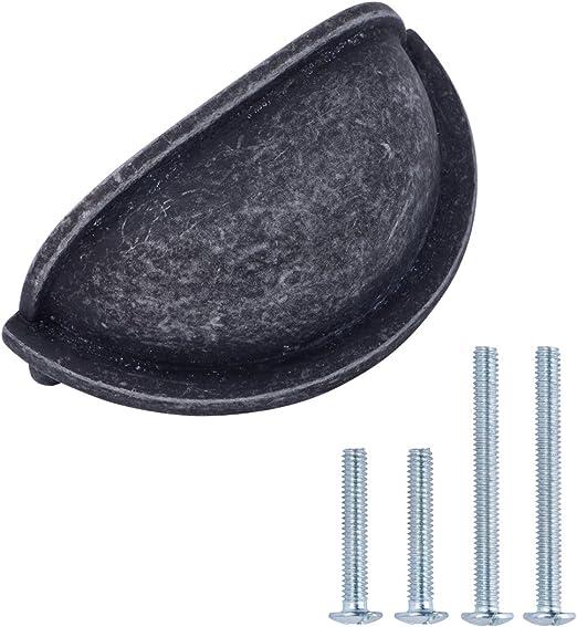 Lochmitte zu Lochmitte: 7,62 cm 10er-Pack Ge/öltes Bronze L/änge: 9,37 cm Muschelgriff f/ür Schubladen Basics klassisch