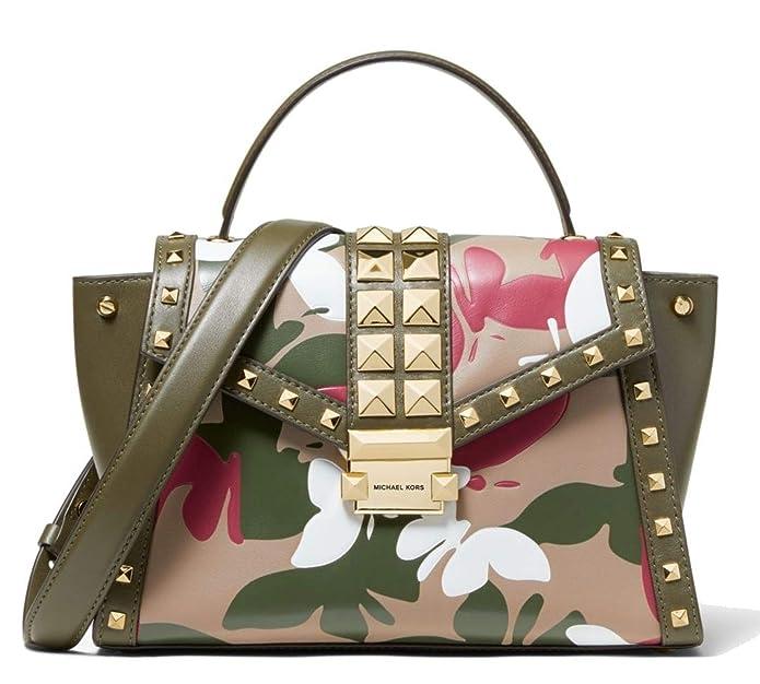 Michael Kors Whitney Medium Butterfly Camo Leather Satchel Bag, Olive Combo