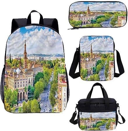 Juego de bolsas escolares para niños de 15 pulgadas, Sevilla España Cityscape School Bags Set para trabajo, escuela, viajes, picnic: Amazon.es: Hogar