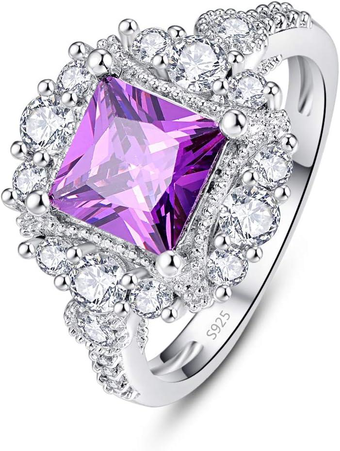 PAKULA 925スターリングシルバー レディース プリンセスカット 模造アメジスト ヘイロー 婚約指輪