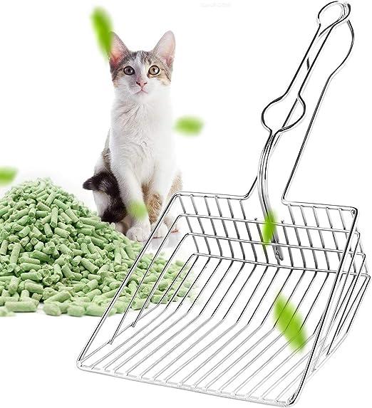 Petyoung Pala para Gatos para Mascotas Pala de Metal Bandeja de Arena para Gatos de Acero Inoxidable Hueca para Mascotas Pala Limpia para baños: Amazon.es: Productos para mascotas