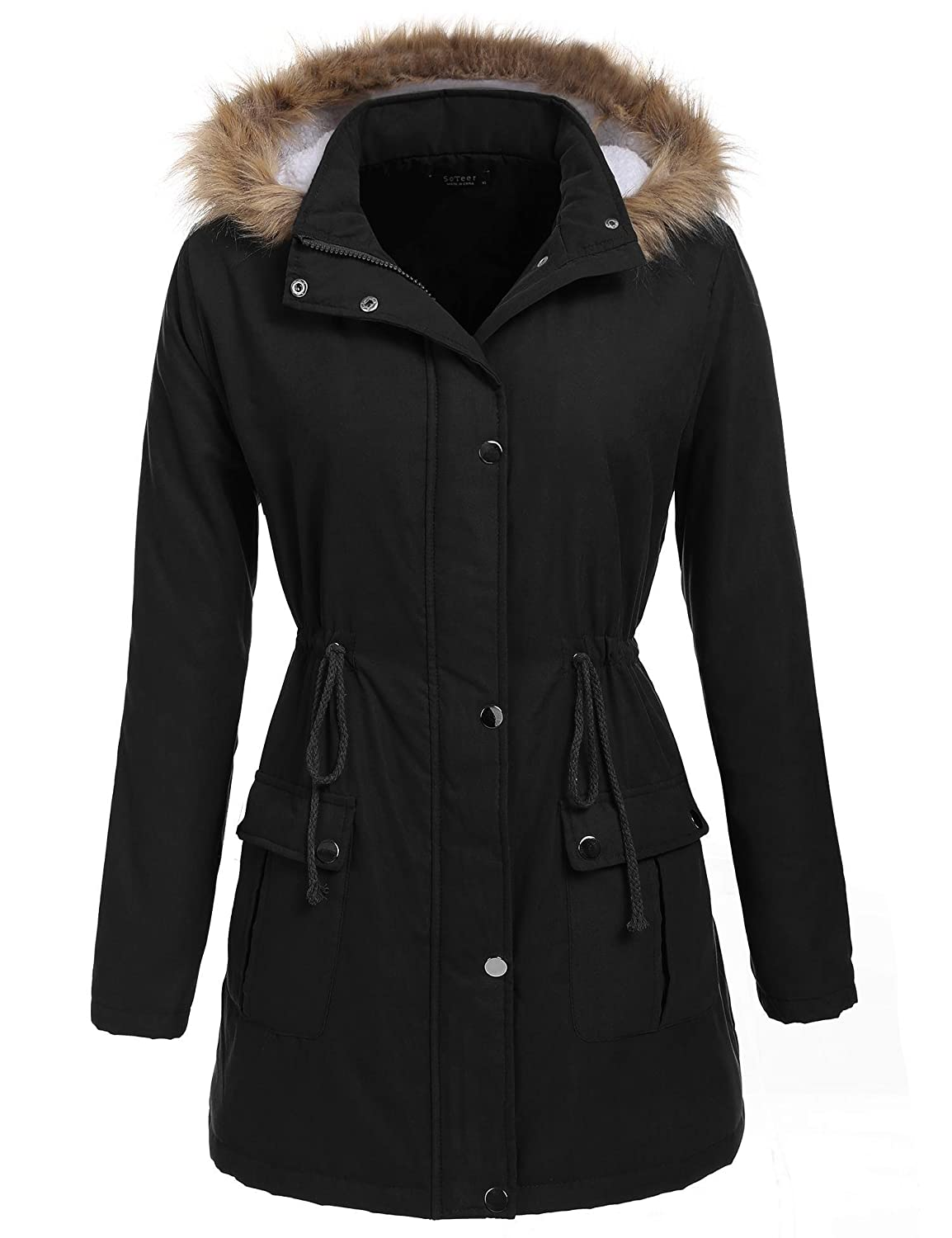 Chigant Damen Winter Steppjacke Wintermantel mit Kapuze Trenchcoat Windmantel Funktionsmantel Parka Outdoorjacke