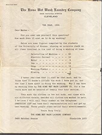 Home Wet Wash Laundry Cleveland Oh Sales Letter 1926 At Amazon S