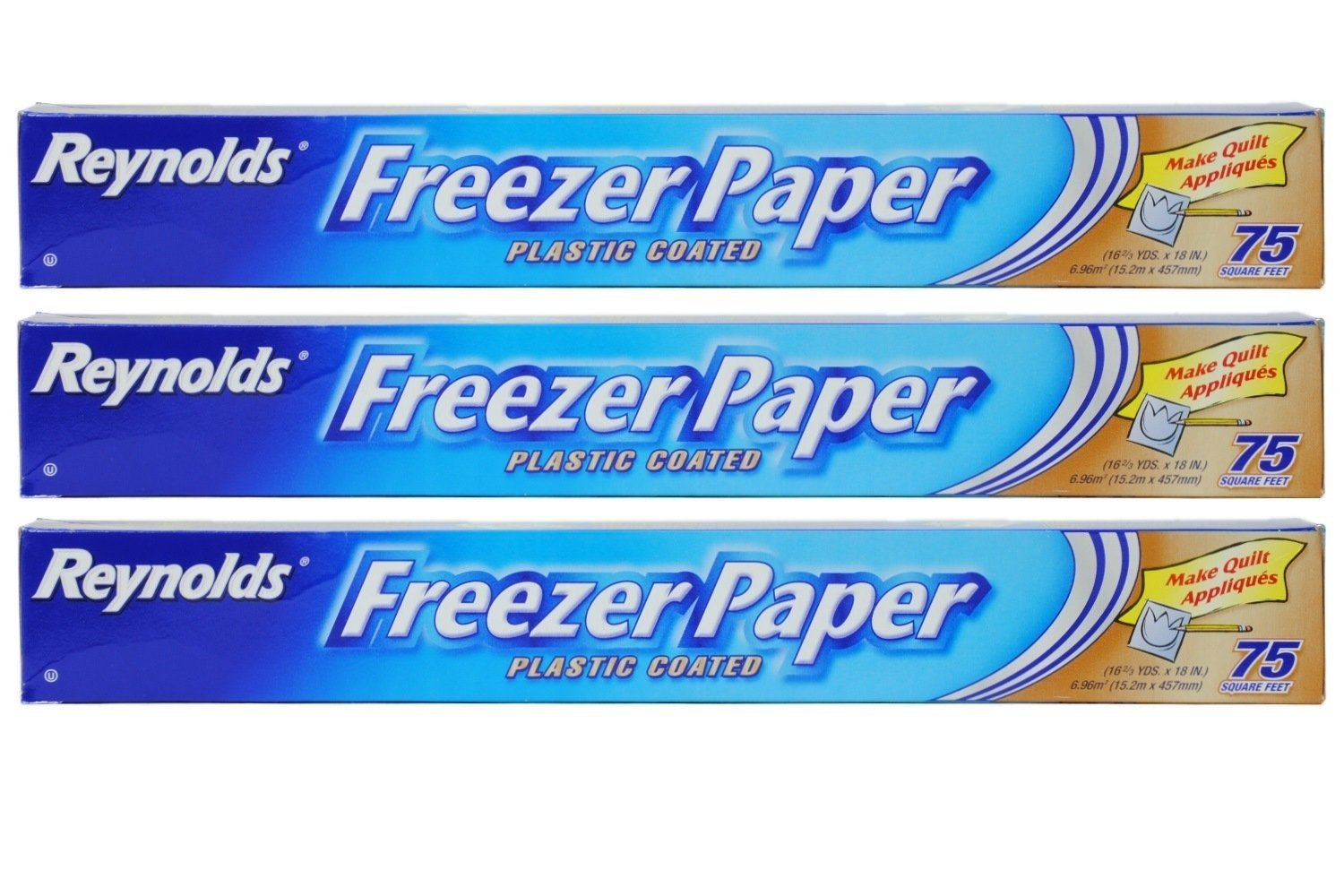 Reynolds Freezer Paper Plastic Coated 16 2/3 yds x 18in Roll (75sq ft.) Pack of 3
