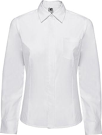 Camisa de manga larga, corte entallado con pinzas en delantero y espalda, bolsillo frontal izquierdo y tapeta cubre botones. (l, blanco): Amazon.es: Ropa y accesorios