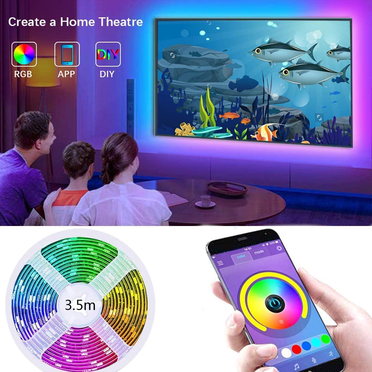 Tira de luces LED para TV LED, tira de luces LED RGB de 11.5 pies (3.5M) controlada por APP para TV de 40 a 60 pulgadas, sincroniza con la música, iluminación diagonal, 5050 RGB para Android e iOS
