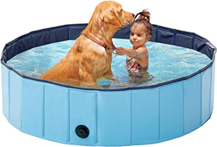 Love S Cabin Foldable Dog Swimming Pool Backyard Plastic Pet Pool Outdoor Baby Bath Tub Kiddie Pool For Dogs Cats And Kids 63in Blue Pet Supplies