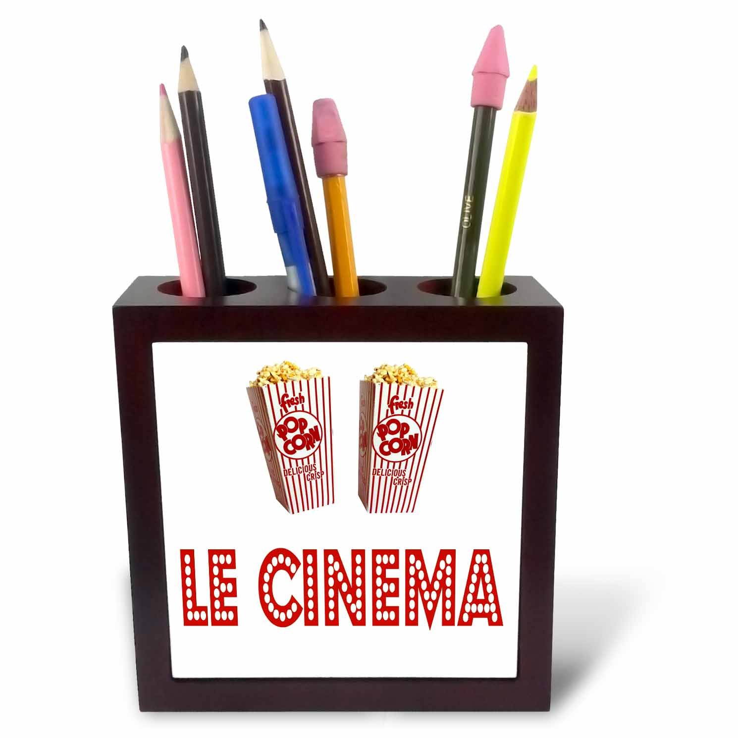 3dRose RinaPiro Movie Sayings - Le Cinema. Popcorn. - 5 inch tile pen holder (ph_273568_1)