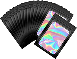 100 Pieces Smell Proof Mylar Bags Resealable Odor Proof Bags Holographic Packaging Pouch Bag with Clear Window for Food Storage Gloss Eyelash Jewelry Electronics Storage (Black, 4,7 x 7.9 Inch)