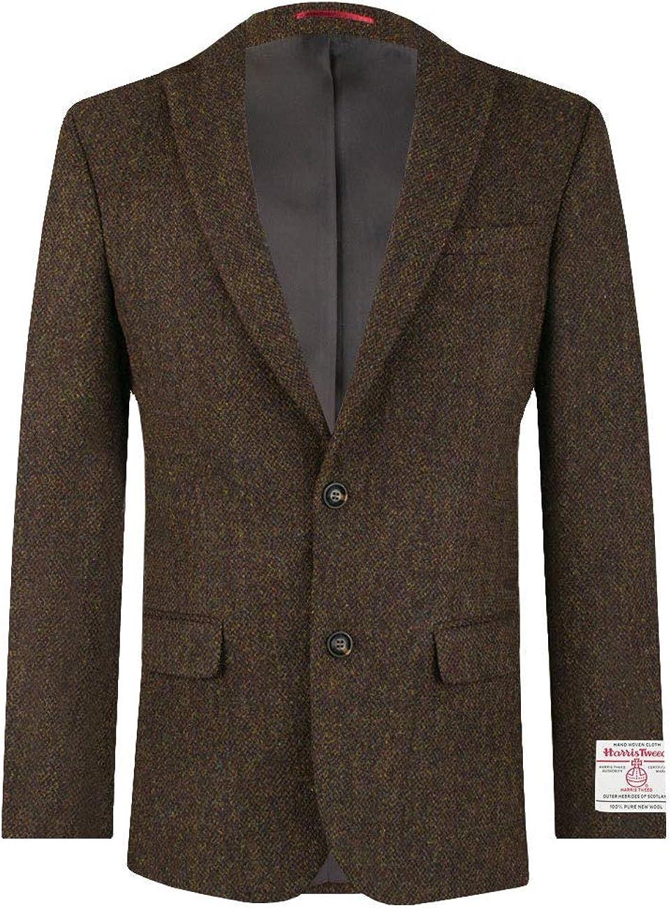 Harris Tweed Homme Veste Vert Fonc/é