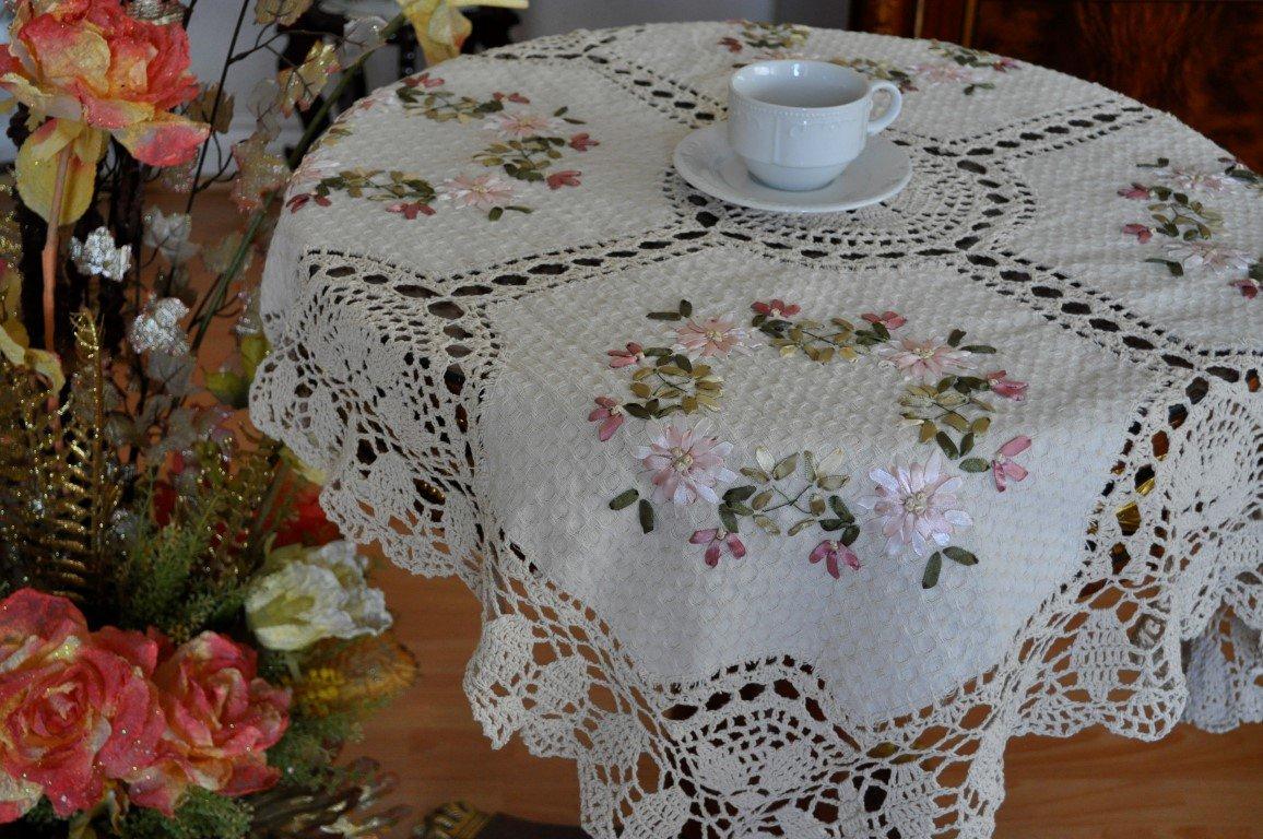 Tasleffaエレガント100 %コットン手作りかぎ針編みリボン刺繍リネンテーブルトッパー:ベージュ( 36