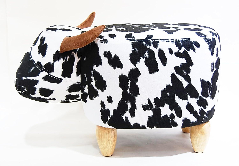 ウシ 牛 乳牛 A アニマルスツール 座れる ぬいぐるみ キッズ 子供 オットマン 軽量 スツール B07D1XRBZ8