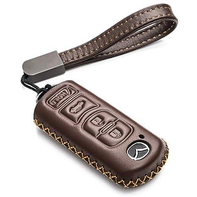 Vitodeco Genuine Leather Smart Key Fob Case Cover Protector for Mazda 3, 6, CX-5, CX-7, CX-9, MX-5 Miata, Atenza Axela (4 Buttons, Brown): Automotive