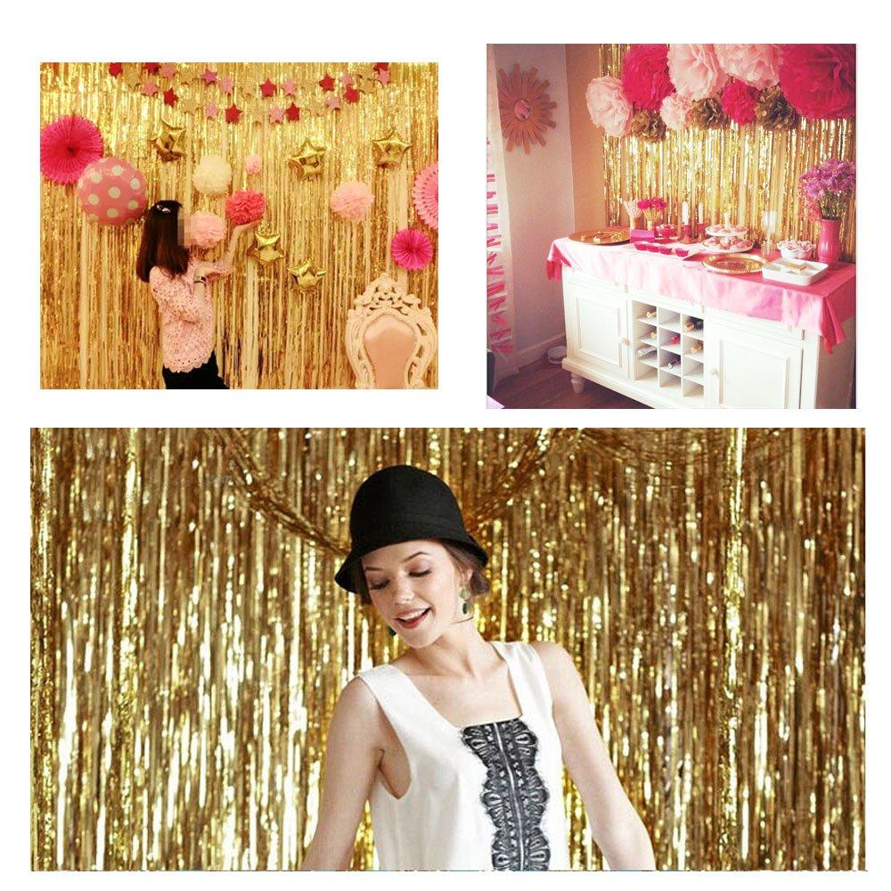 Blue Event /& Party Supplies Decoration 3 ft x 8 ft DIY Tassel Garland Banner for Wedding Baby Shower MerryNine 5 Pack Metallic Foil Fringe Curtain