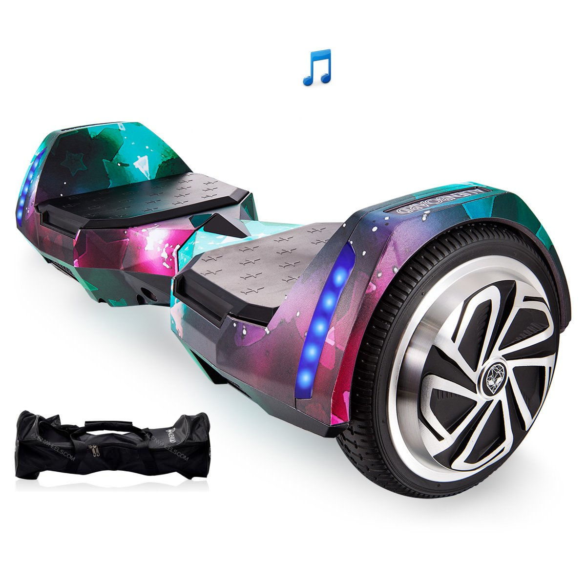 Mars One AlienBoard UL2272 Certified Hoverboard BatWings with Bluetooth and LED Lights (Glow Stars)