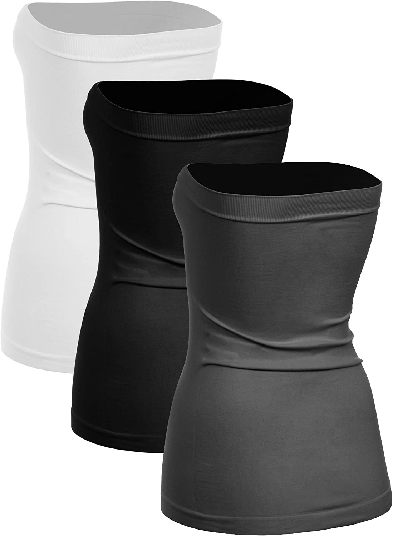 XS//S, M//L, L//XL, XL//XXL Kurve Womens Seamless Stretch Long Bandeau Tube Top -Made in USA