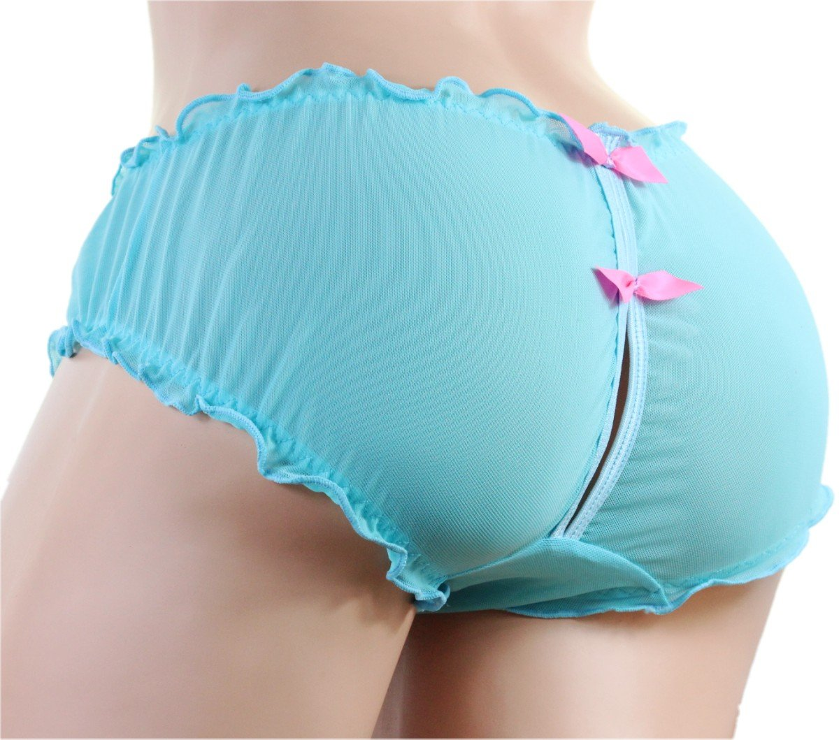 SISSY pouch panties size 36''-42'' men's girlie bikini men's briefs underwear sexy for men (Blue XL)
