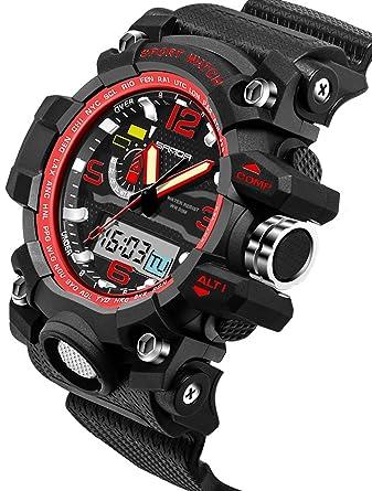 Amazon.com: Sanda Digital Sports Watch Mens Gold Outdoor Military Stopwatch Alarm Big Face Black: Watches