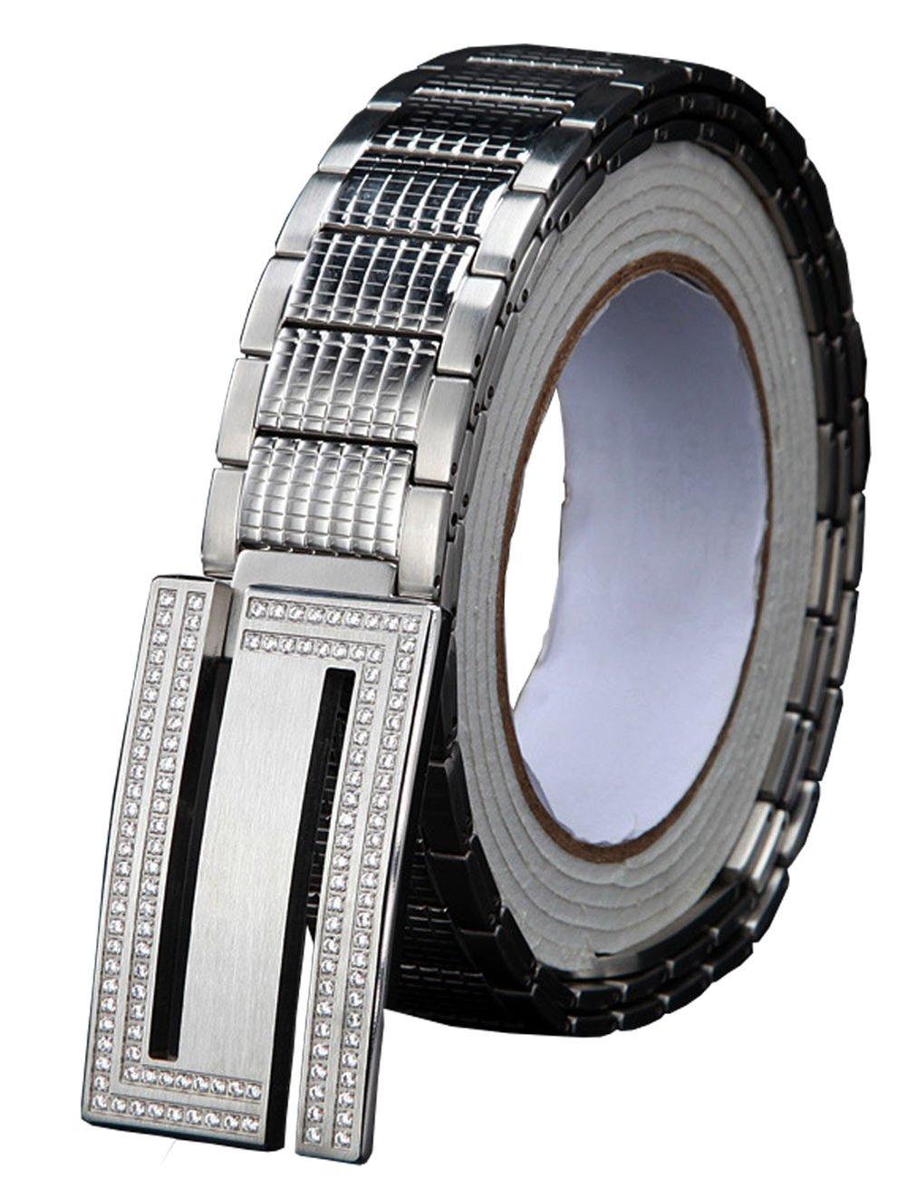Menschwear Men's Stainless Steel Belt Slide Buckle Adjustable 32mm 152 Silver 130cm