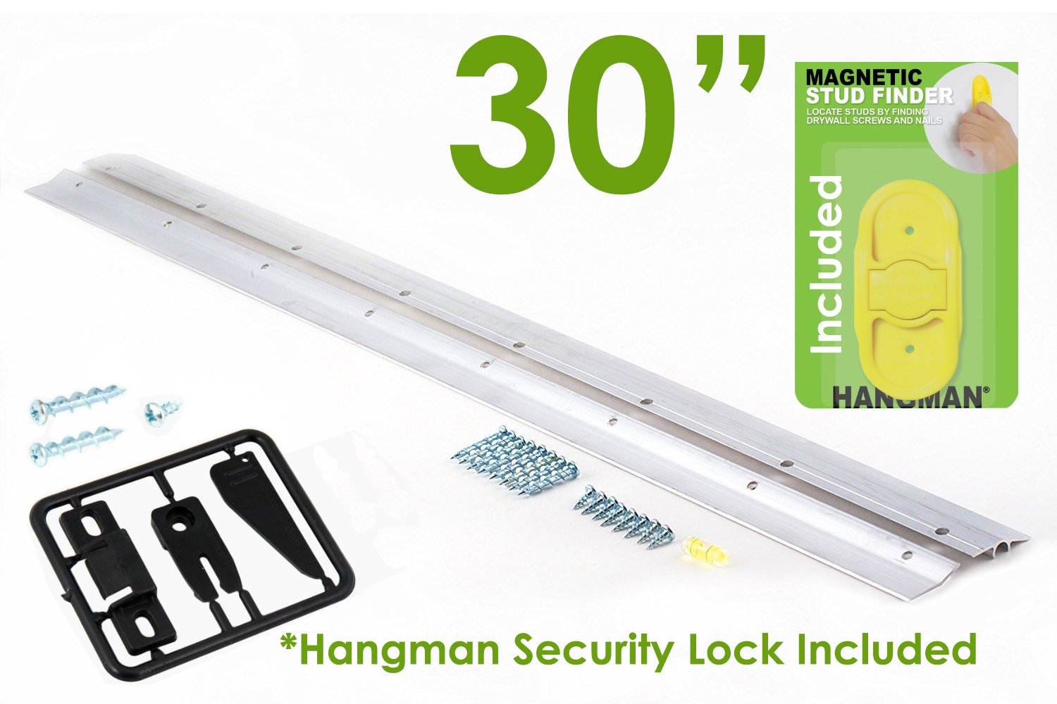 Hangman 30'' Heavy Duty Mirror and Picture Hanger with Security Lock and Stud Finder Includes Walldog Anchorless Screws - Aluminum (HM-30DS-SL)