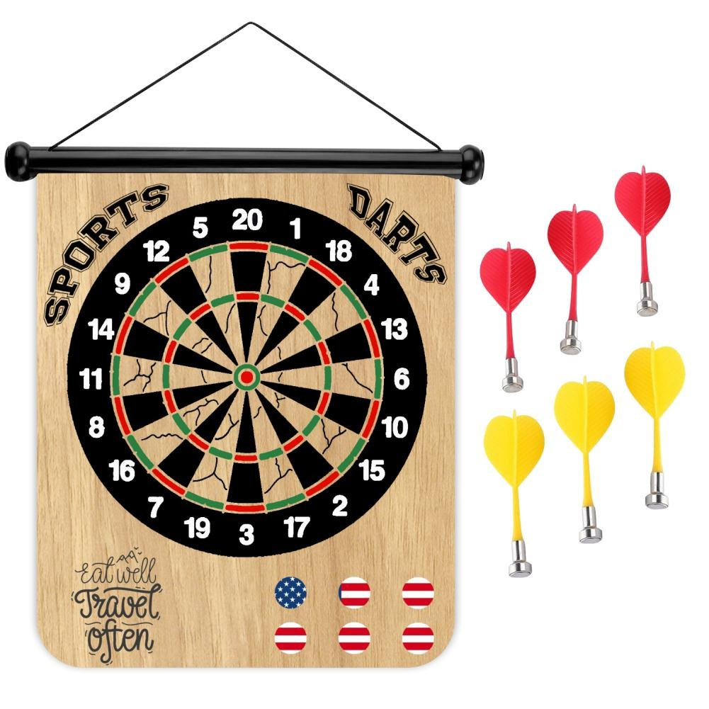 Sports Home Eat Well Travel Often Magnetic Dart Board Safe Precision Darts, Best Gift for Boys & Girls, Great Classic Game the Whole Family can Enjoy - Play in Teams or Solo, Simple & Easy to Install by Sports Home