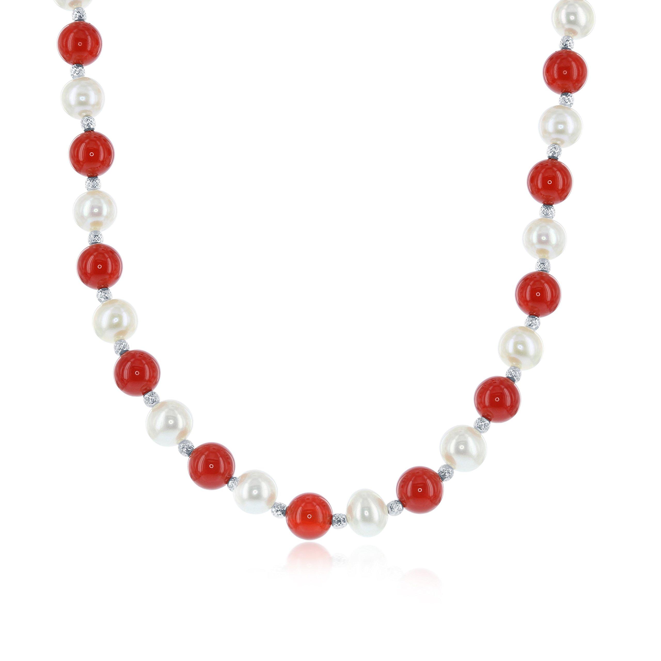 Sterling Silver 18'' + 2'' Freshwater Pearl & Carnelian Necklace