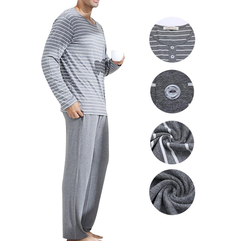 Dolamen Pijamas para Hombre, Pijamas Hombre Invierno, Hombre Camisones Pijamas de Parejas, 100% Algodón Suave y cálido Manga Larga y Pantalones Largos ...