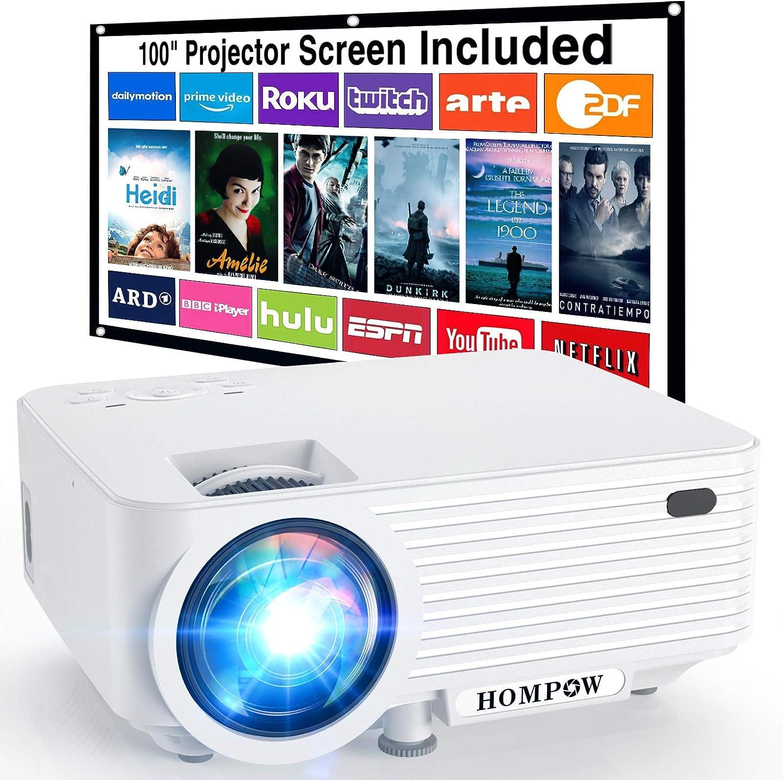 Mini Proyector, HOMPOW Proyector de Video Portátil con 6000 Lúmenes, Compatible con Full HD 1080P, Altavoces Duales Incorporados, Compatible con TV Stick/ HDMI/ VGA/ USB/ TV Box/ Laptop/ DVD/ PS4
