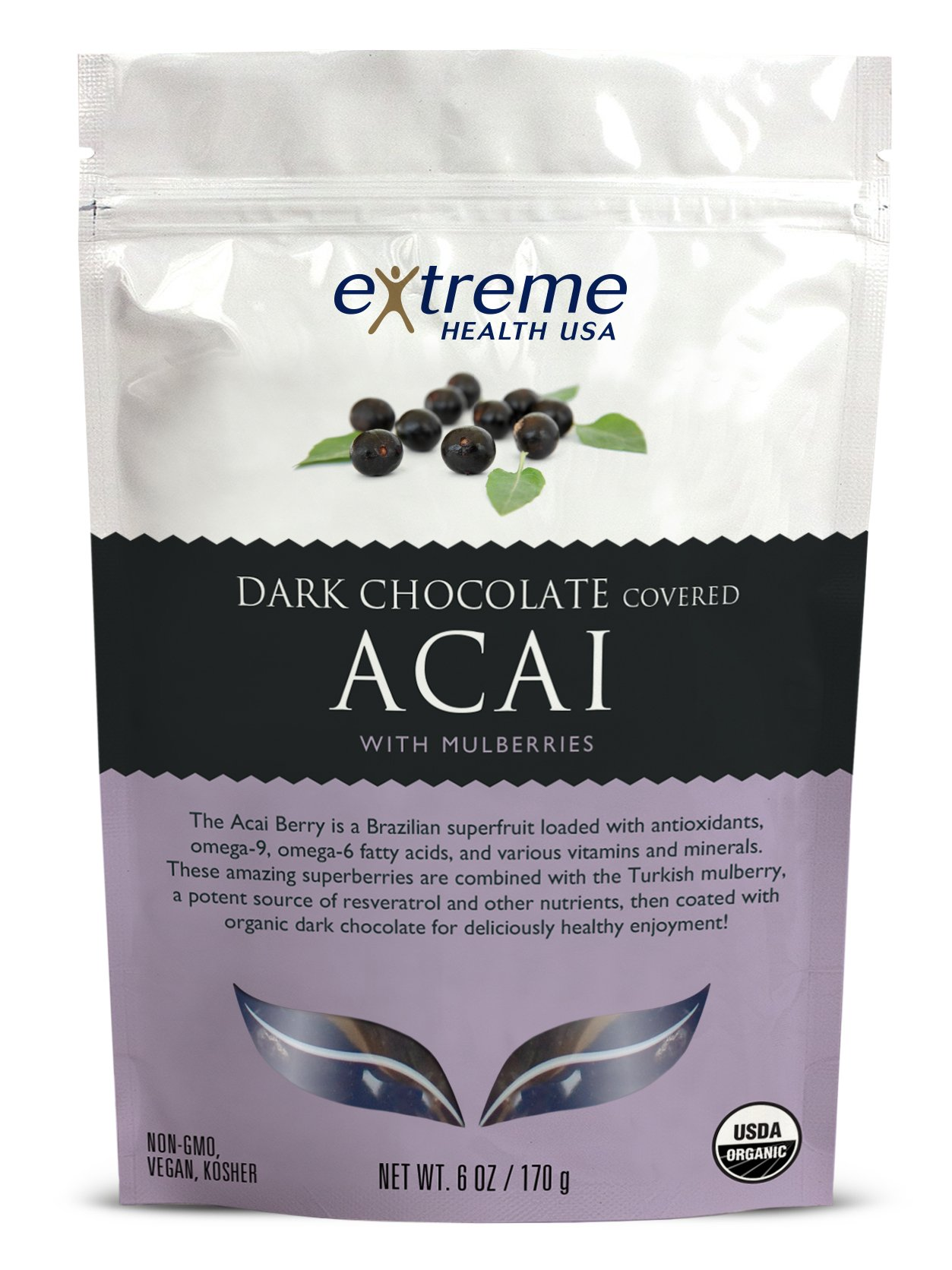 Extreme Health USA Organic Acai with Mulberries Covered with Dark Chocolate, 6-Ounce