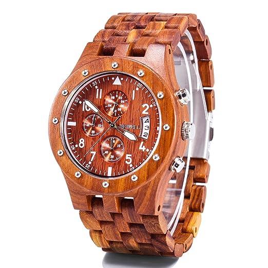 Bewell Reloj hombre mujer madera multifuncional Reloj barato de moda Cronómetro Gías lumisionas Movimientode cuarzo japonés Diseño único y especial: ...