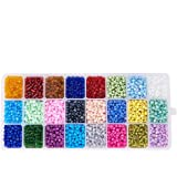 Pandahall Elite 1 Box 24 Color 6/0 Glass Seed Beads 4mm About 6000 Pieces Assorted in Storage Box