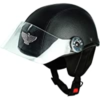AllExtreme EXLH1 PU Leather Padded Half Face Safety Helmet with Clear Visor & Quick Release Buckle for Women, Girl & Men (Black)