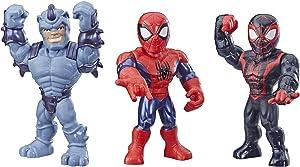 "Playskool Heroes Mega Mighties Marvel Super Hero Adventures Web Warriors 3 Pack, Spider-Man, Kid Arachnid, Marvel's Rhino, 10"" Figures, Kids Ages 3 & Up"