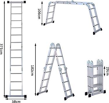 Escalera de aluminio multifunción, 71 metros 12 peldaños, andamio, escalera con carga máxima de 150 kg Plateada: Amazon.es: Bricolaje y herramientas