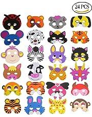 CCINEE 24 Kids Foam Animal Masks for Party Bag Fillers, 16 Assorted.
