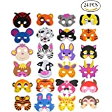 Lot de 24 masques d'animaux CCINEE en mousse, pour enfants, pour pochettes-surprises de fête, 16 modèles assortis